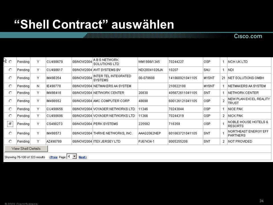 © 2003, Cisco Systems 34 Shell Contract auswählen