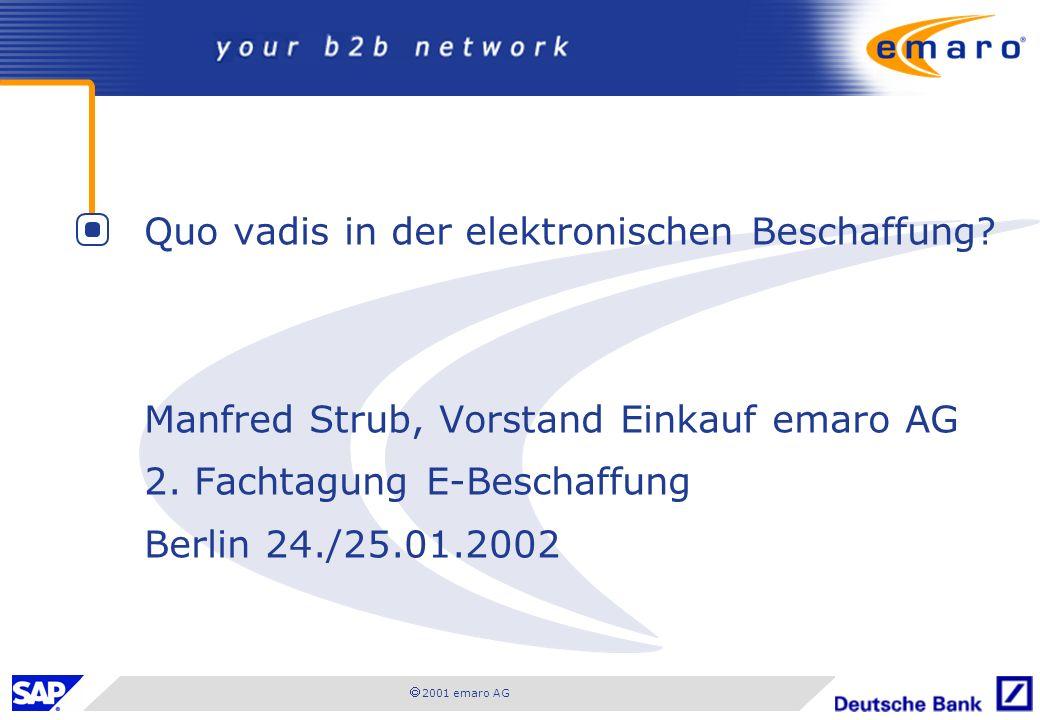 2001 emaro AG Quo vadis in der elektronischen Beschaffung? Manfred Strub, Vorstand Einkauf emaro AG 2. Fachtagung E-Beschaffung Berlin 24./25.01.2002
