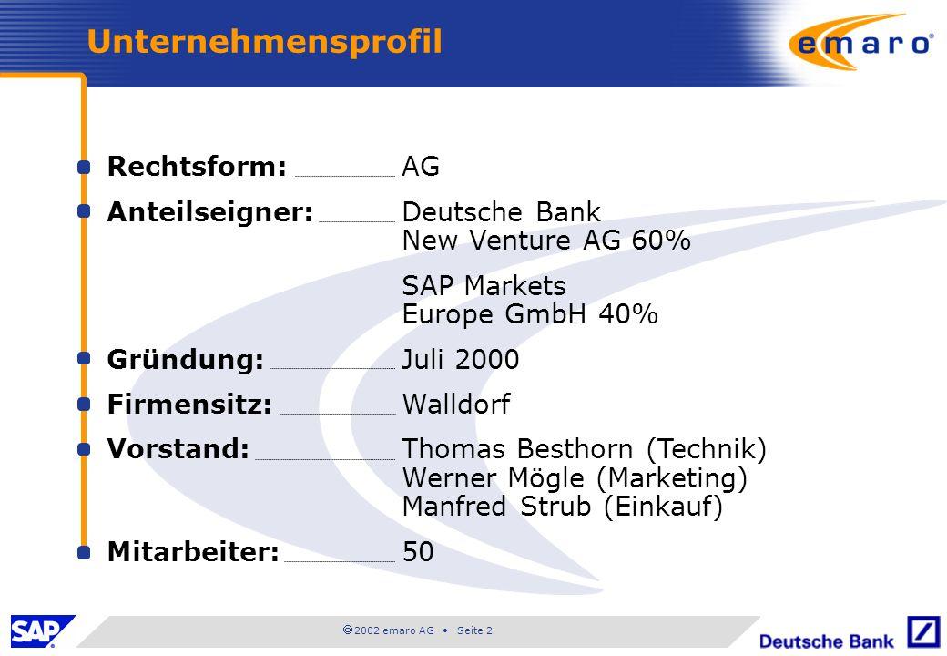 2002 emaro AG Seite 2 Unternehmensprofil Rechtsform:AG Anteilseigner:Deutsche Bank New Venture AG 60% SAP Markets Europe GmbH40% Gründung:Juli 2000 Firmensitz:Walldorf Vorstand:Thomas Besthorn (Technik) Werner Mögle (Marketing) Manfred Strub (Einkauf) Mitarbeiter:50