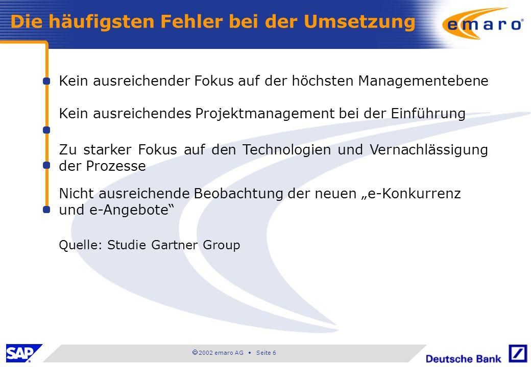 2002 emaro AG Seite 6 Kein ausreichender Fokus auf der höchsten Managementebene Kein ausreichendes Projektmanagement bei der Einführung Zu starker Fok
