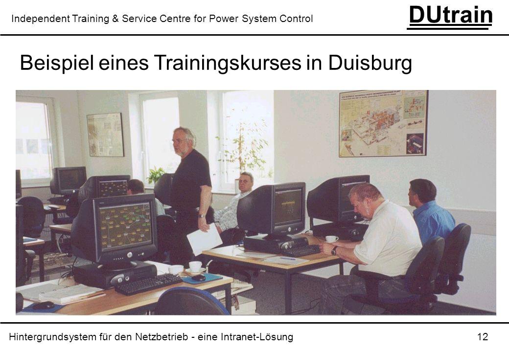 Hintergrundsystem für den Netzbetrieb - eine Intranet-Lösung 12 DUtrain Independent Training & Service Centre for Power System Control Beispiel eines