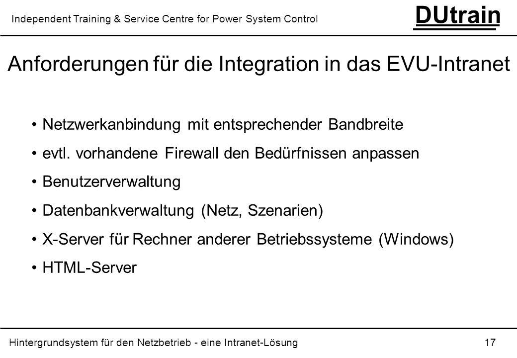 Hintergrundsystem für den Netzbetrieb - eine Intranet-Lösung 17 DUtrain Independent Training & Service Centre for Power System Control Anforderungen f