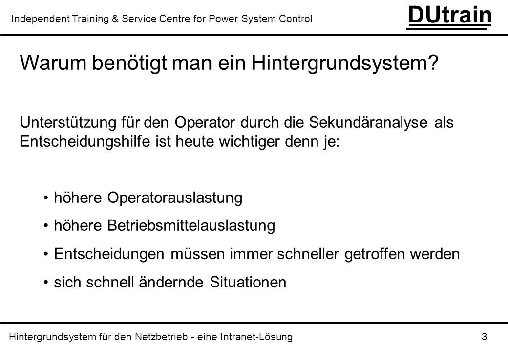 Hintergrundsystem für den Netzbetrieb - eine Intranet-Lösung 14 DUtrain Independent Training & Service Centre for Power System Control Von der Einzelsystem-Lösung zur Intranet-Lösung Planung Arbeitsvor- bereitung Netzbetrieb Handel Öffentlich- keit PSH DB1 DB2 DB3 SCADA PSH-Archive