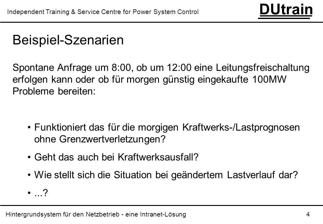 Hintergrundsystem für den Netzbetrieb - eine Intranet-Lösung 4 DUtrain Independent Training & Service Centre for Power System Control Beispiel-Szenari