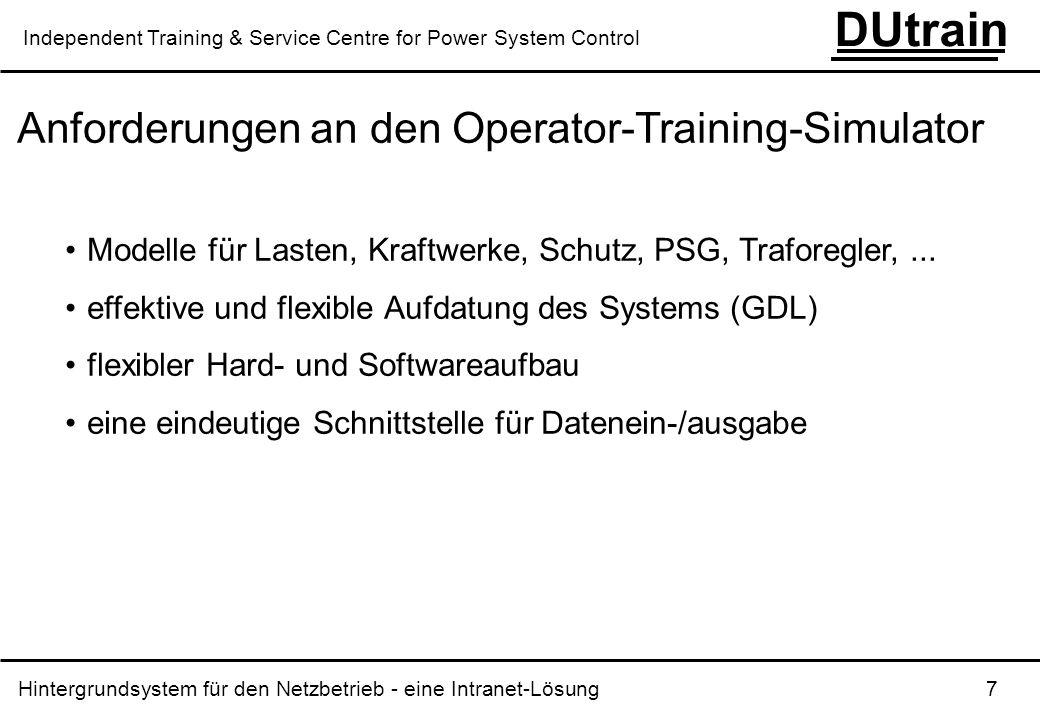 Hintergrundsystem für den Netzbetrieb - eine Intranet-Lösung 8 DUtrain Independent Training & Service Centre for Power System Control Hard- und Software-Charakteristika PC LINUX TCP/IP über 100Mbit Ethernet Client-Server-Aufbau eine einheitliche Interprozess-Kommunikation