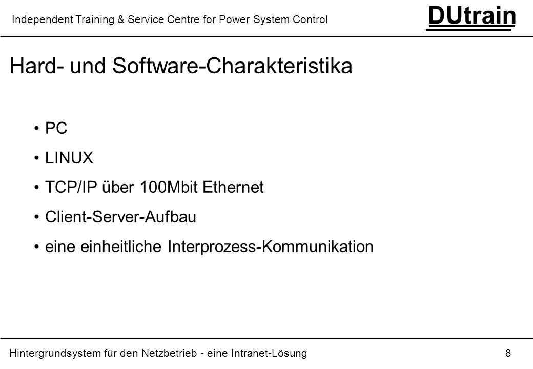 Hintergrundsystem für den Netzbetrieb - eine Intranet-Lösung 8 DUtrain Independent Training & Service Centre for Power System Control Hard- und Softwa