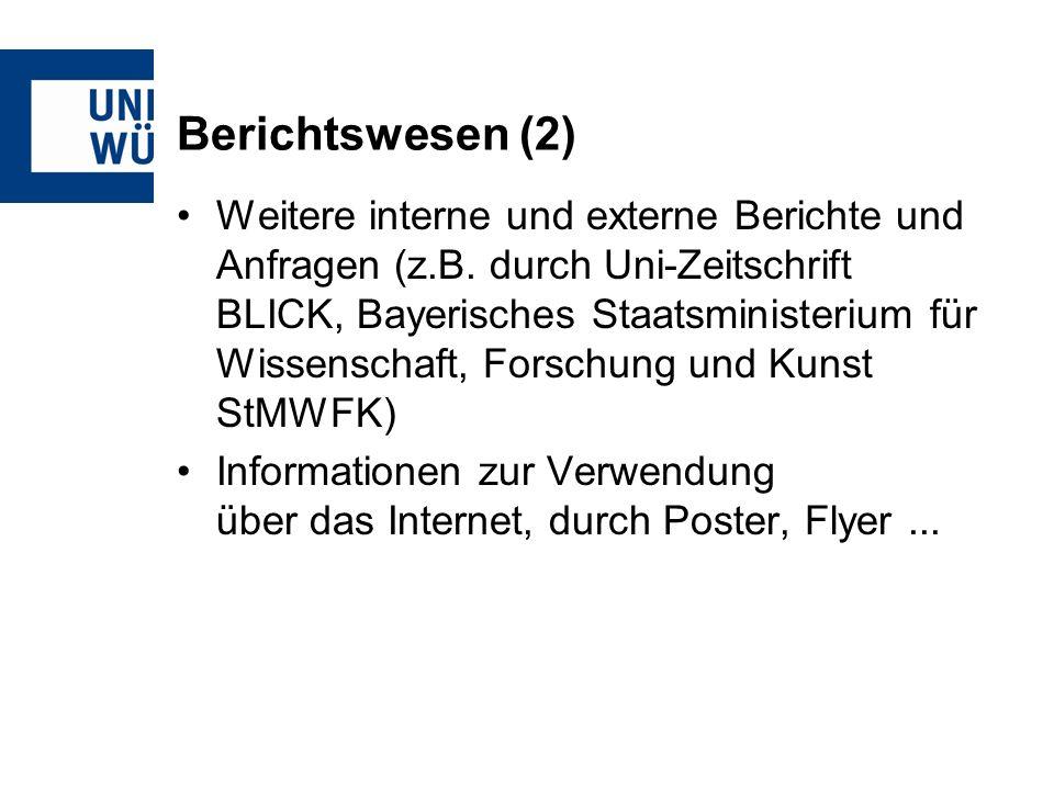 Berichtswesen (2) Weitere interne und externe Berichte und Anfragen (z.B.