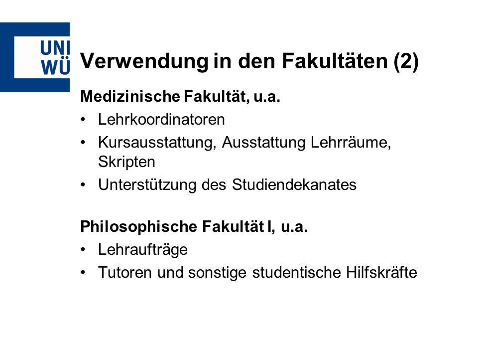 Verwendung in den Fakultäten (2) Medizinische Fakultät, u.a.