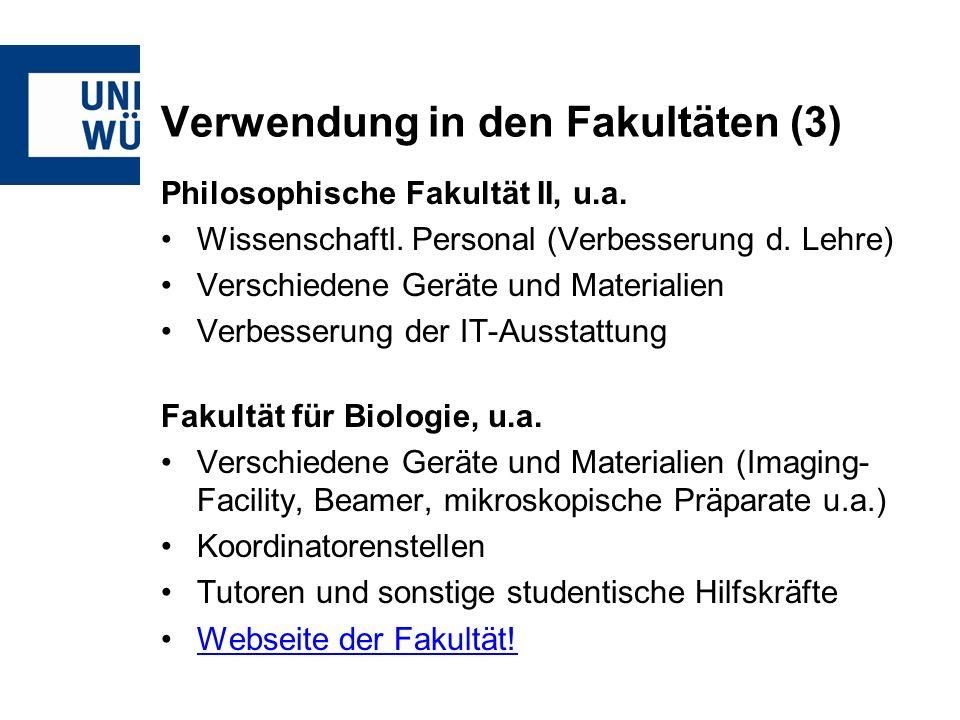 Verwendung in den Fakultäten (3) Philosophische Fakultät II, u.a.