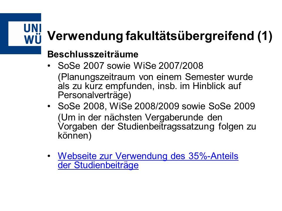 Verwendung fakultätsübergreifend (1) Beschlusszeiträume SoSe 2007 sowie WiSe 2007/2008 (Planungszeitraum von einem Semester wurde als zu kurz empfunden, insb.