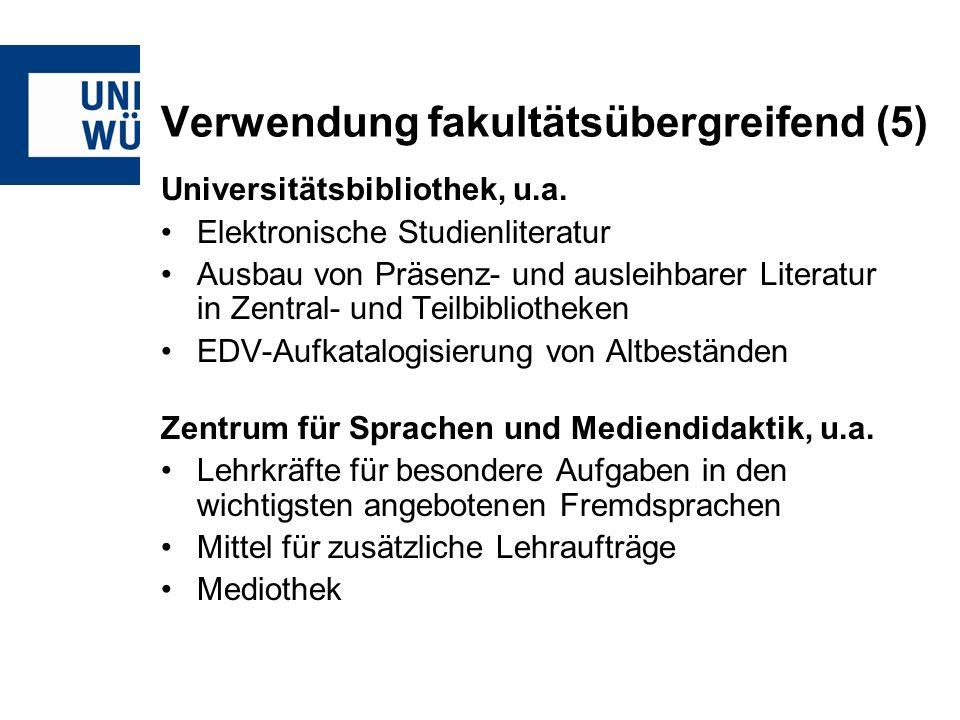 Verwendung fakultätsübergreifend (5) Universitätsbibliothek, u.a.