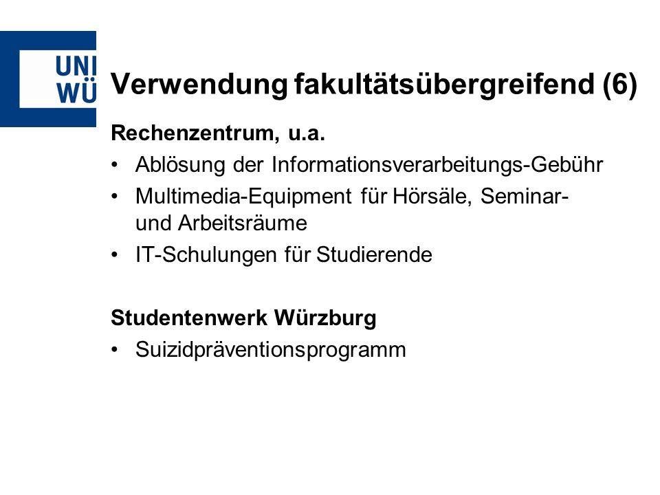 Verwendung fakultätsübergreifend (6) Rechenzentrum, u.a.
