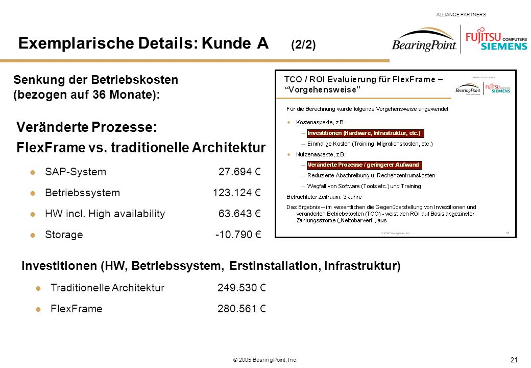 21 ALLIANCE PARTNERS © 2005 BearingPoint, Inc. Veränderte Prozesse: FlexFrame vs. traditionelle Architektur SAP-System 27.694 Betriebssystem123.124 HW