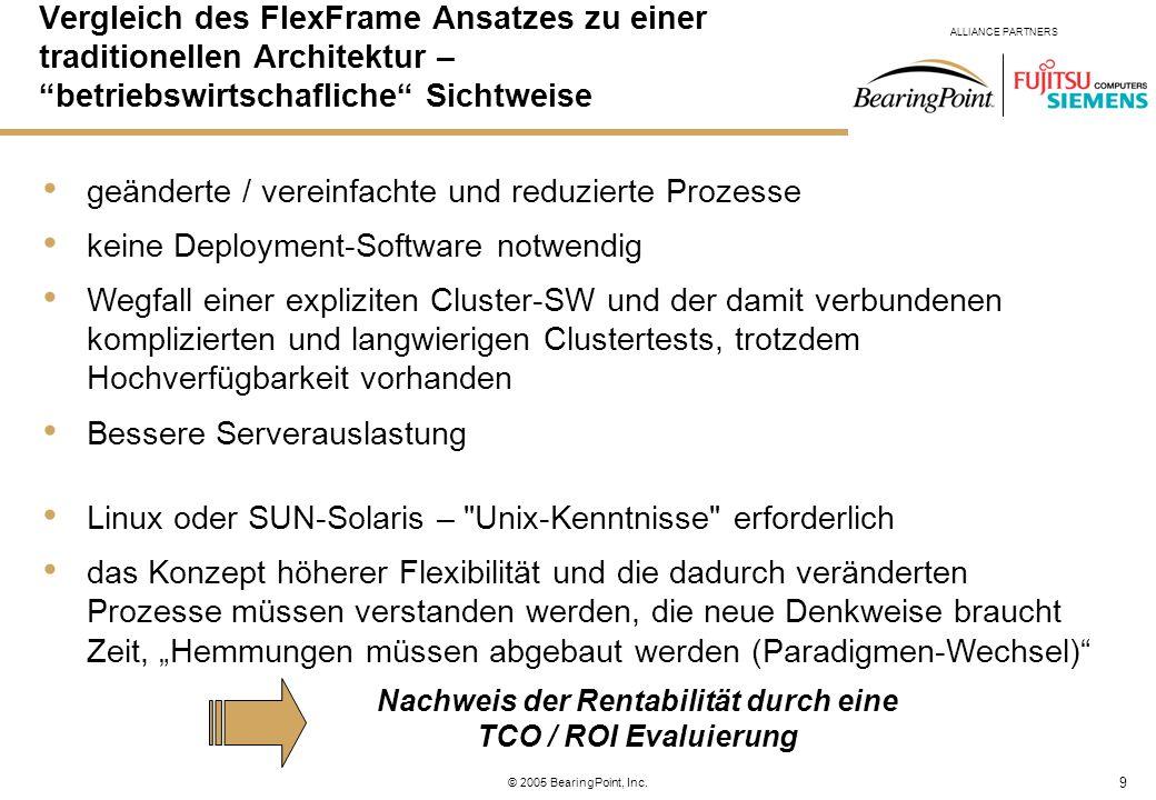 9 ALLIANCE PARTNERS © 2005 BearingPoint, Inc. geänderte / vereinfachte und reduzierte Prozesse keine Deployment-Software notwendig Wegfall einer expli