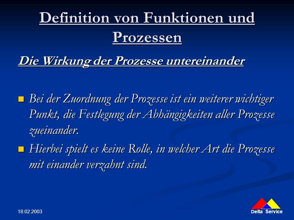 D elta Service 18.02.2003 Definition von Funktionen und Prozessen Die Wirkung der Prozesse untereinander Bei der Zuordnung der Prozesse ist ein weiter