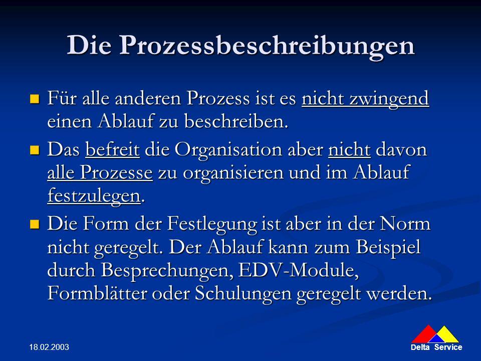 D elta Service 18.02.2003 Die Prozessbeschreibungen Für alle anderen Prozess ist es nicht zwingend einen Ablauf zu beschreiben. Für alle anderen Proze