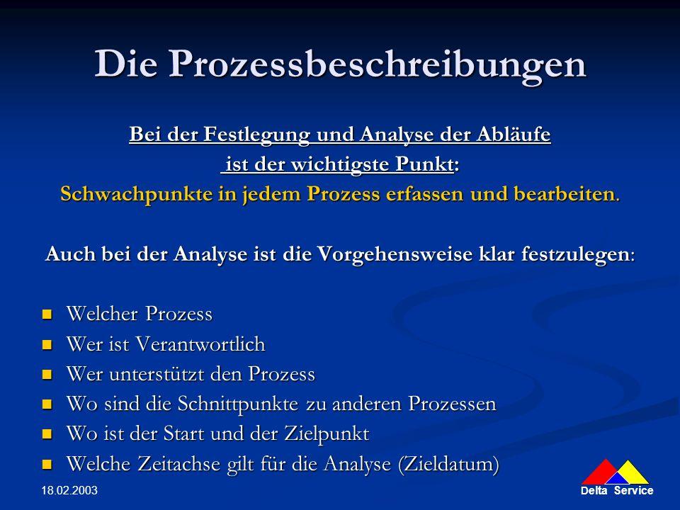 D elta Service 18.02.2003 Die Prozessbeschreibungen Bei der Festlegung und Analyse der Abläufe ist der wichtigste Punkt: ist der wichtigste Punkt: Sch