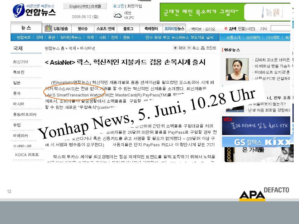 12 Yonhap News, 5. Juni, 10.28 Uhr