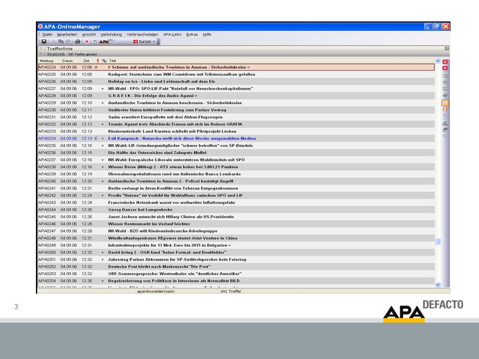 4 Kurzzeit-Diffusionsanalyse: APA-Meldung: wer schreibt wann ab.