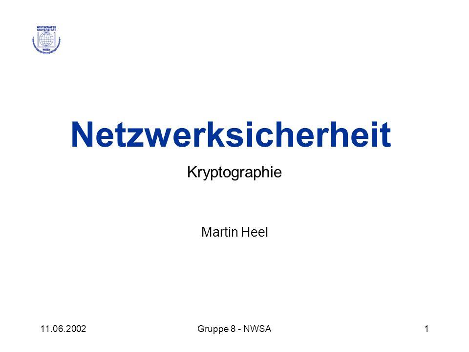 11.06.2002Gruppe 8 - NWSA1 Netzwerksicherheit Kryptographie Martin Heel