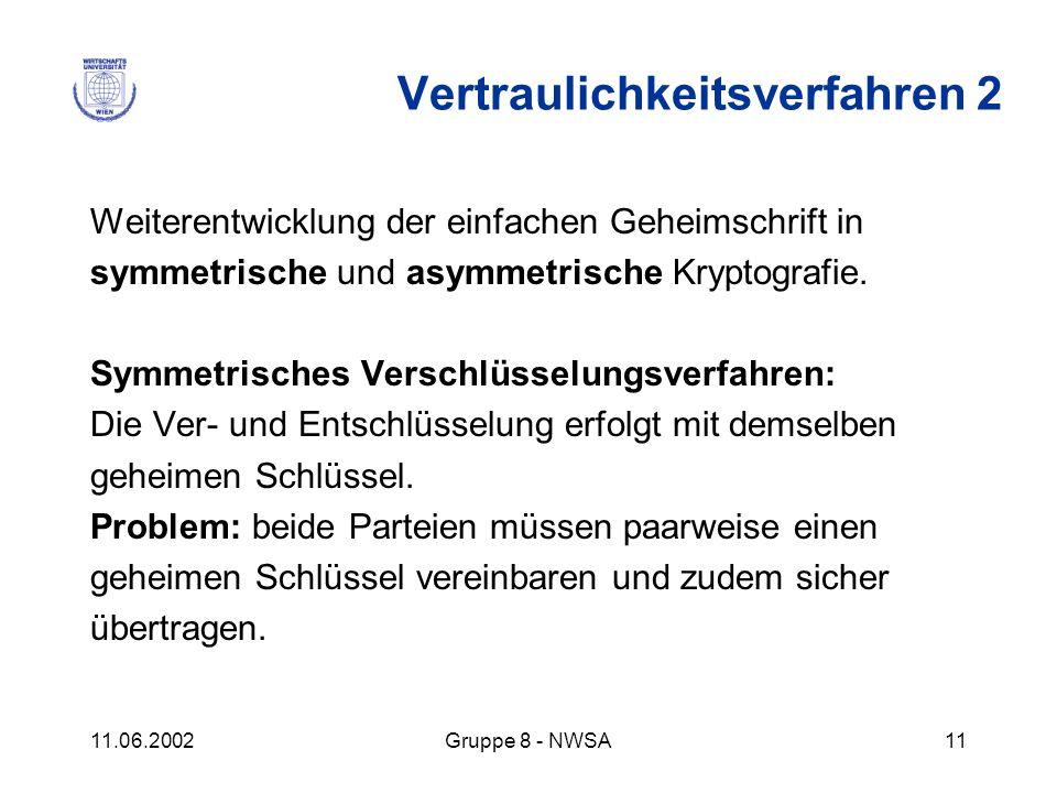 11.06.2002Gruppe 8 - NWSA11 Weiterentwicklung der einfachen Geheimschrift in symmetrische und asymmetrische Kryptografie. Symmetrisches Verschlüsselun