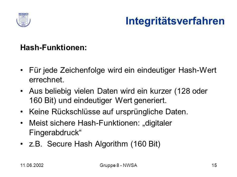 11.06.2002Gruppe 8 - NWSA15 Hash-Funktionen: Für jede Zeichenfolge wird ein eindeutiger Hash-Wert errechnet. Aus beliebig vielen Daten wird ein kurzer