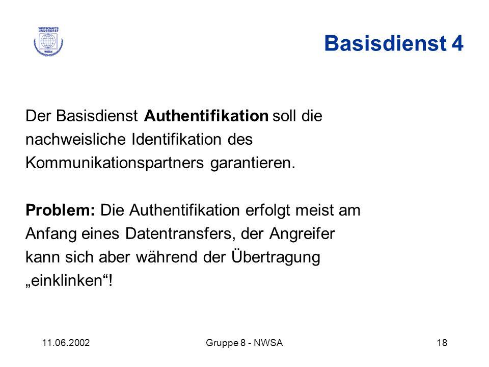 11.06.2002Gruppe 8 - NWSA18 Der Basisdienst Authentifikation soll die nachweisliche Identifikation des Kommunikationspartners garantieren. Problem: Di