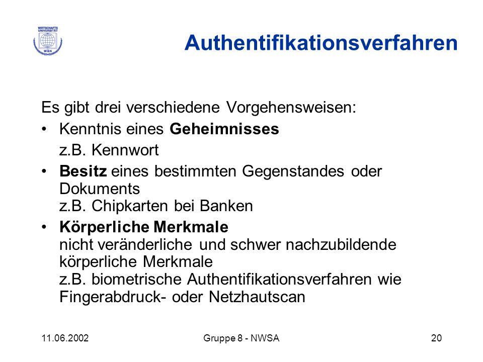 11.06.2002Gruppe 8 - NWSA20 Es gibt drei verschiedene Vorgehensweisen: Kenntnis eines Geheimnisses z.B. Kennwort Besitz eines bestimmten Gegenstandes