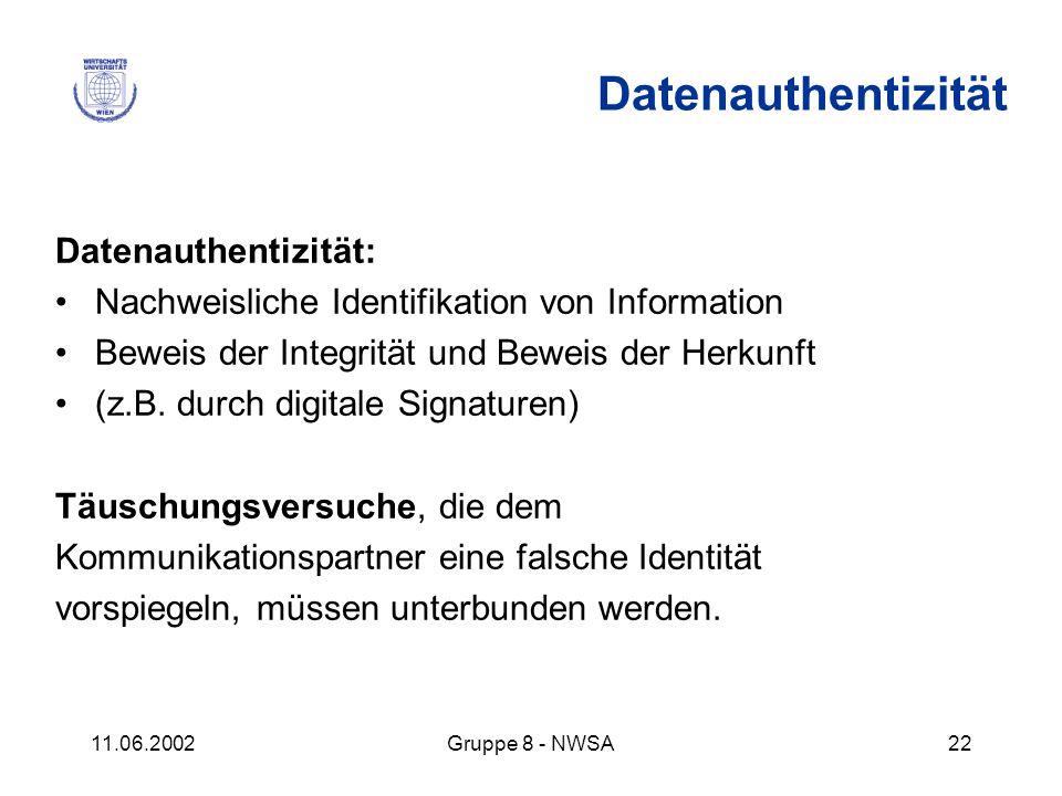 11.06.2002Gruppe 8 - NWSA22 Datenauthentizität: Nachweisliche Identifikation von Information Beweis der Integrität und Beweis der Herkunft (z.B. durch