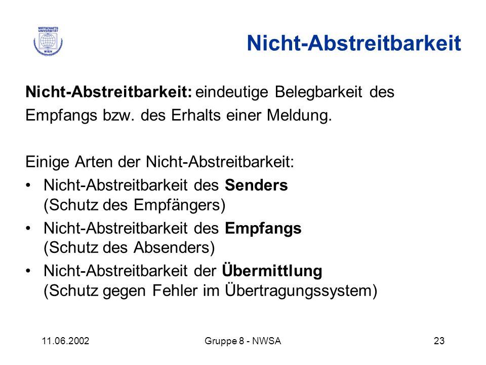 11.06.2002Gruppe 8 - NWSA23 Nicht-Abstreitbarkeit: eindeutige Belegbarkeit des Empfangs bzw. des Erhalts einer Meldung. Einige Arten der Nicht-Abstrei