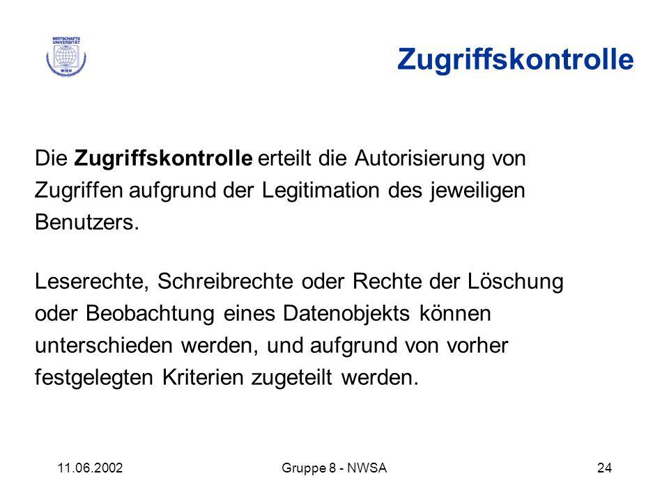 11.06.2002Gruppe 8 - NWSA24 Die Zugriffskontrolle erteilt die Autorisierung von Zugriffen aufgrund der Legitimation des jeweiligen Benutzers. Leserech
