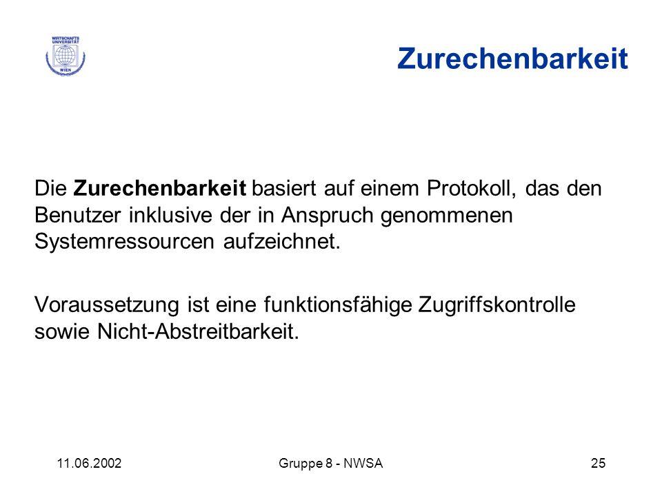 11.06.2002Gruppe 8 - NWSA25 Die Zurechenbarkeit basiert auf einem Protokoll, das den Benutzer inklusive der in Anspruch genommenen Systemressourcen au
