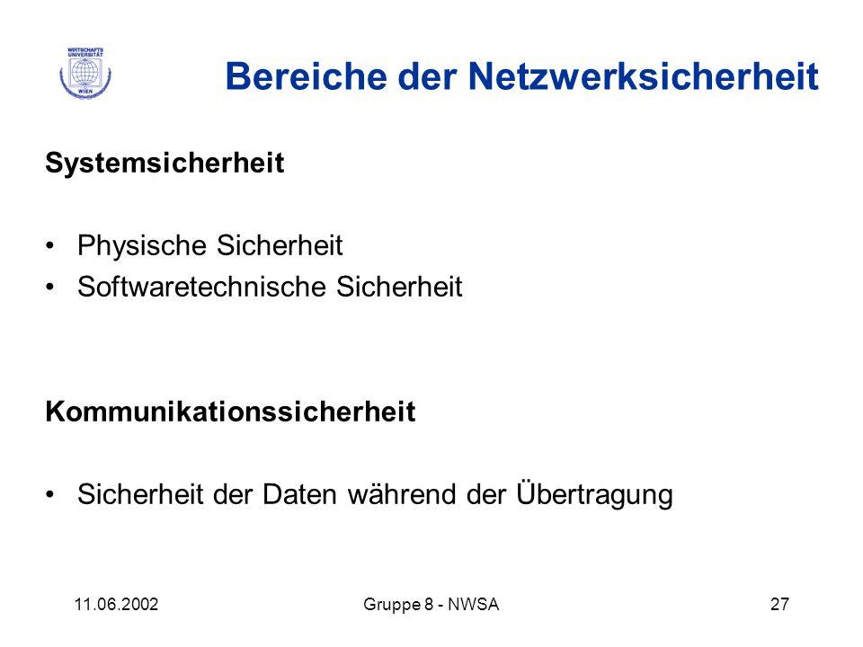 11.06.2002Gruppe 8 - NWSA27 Bereiche der Netzwerksicherheit Systemsicherheit Physische Sicherheit Softwaretechnische Sicherheit Kommunikationssicherhe