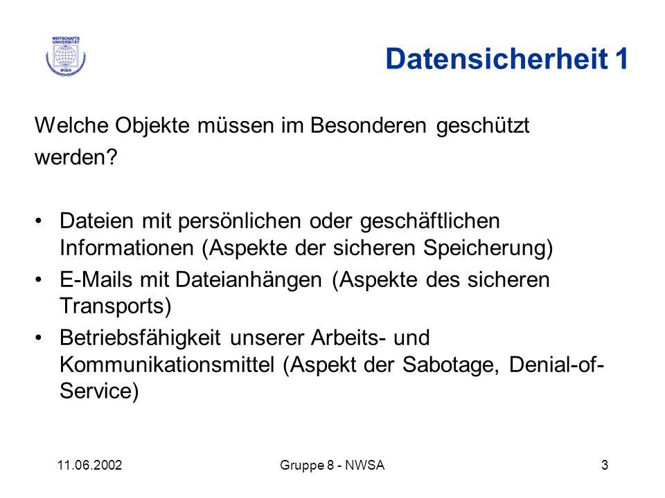 11.06.2002Gruppe 8 - NWSA3 Welche Objekte müssen im Besonderen geschützt werden? Dateien mit persönlichen oder geschäftlichen Informationen (Aspekte d