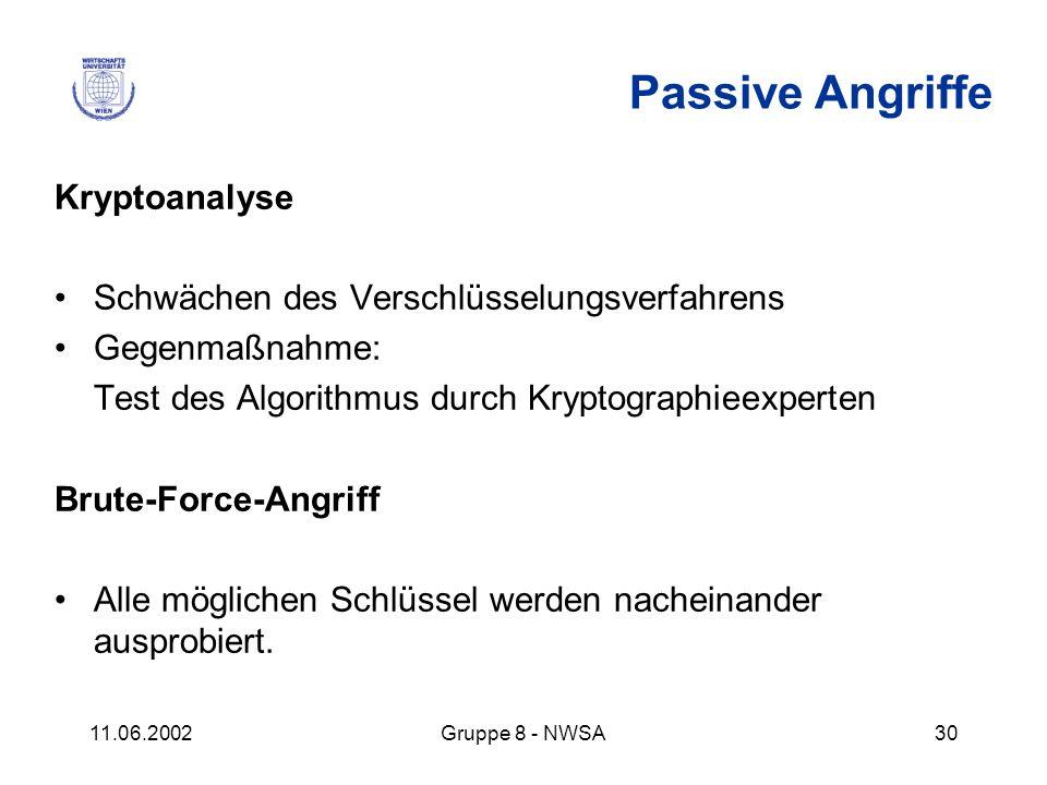 11.06.2002Gruppe 8 - NWSA30 Passive Angriffe Kryptoanalyse Schwächen des Verschlüsselungsverfahrens Gegenmaßnahme: Test des Algorithmus durch Kryptogr