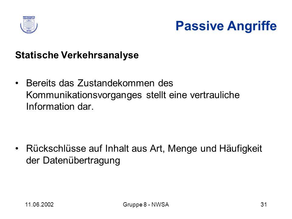 11.06.2002Gruppe 8 - NWSA31 Passive Angriffe Statische Verkehrsanalyse Bereits das Zustandekommen des Kommunikationsvorganges stellt eine vertrauliche