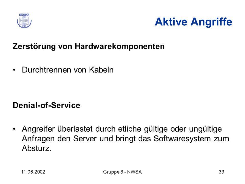 11.06.2002Gruppe 8 - NWSA33 Aktive Angriffe Zerstörung von Hardwarekomponenten Durchtrennen von Kabeln Denial-of-Service Angreifer überlastet durch et