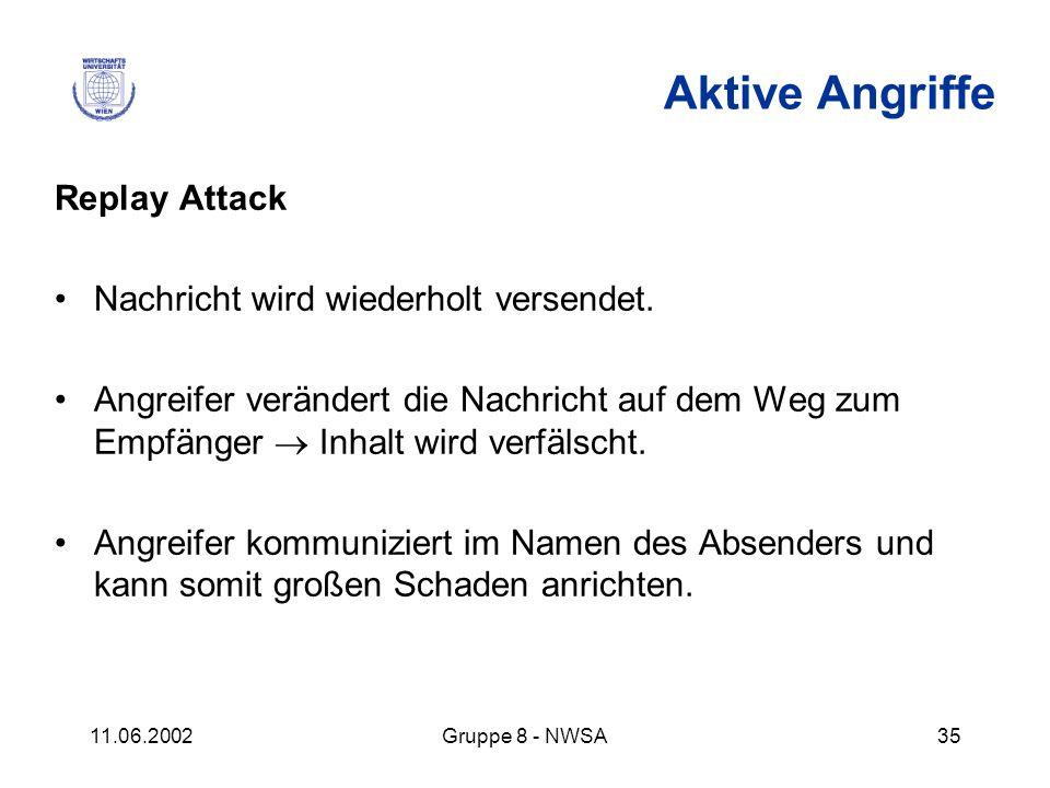 11.06.2002Gruppe 8 - NWSA35 Aktive Angriffe Replay Attack Nachricht wird wiederholt versendet. Angreifer verändert die Nachricht auf dem Weg zum Empfä