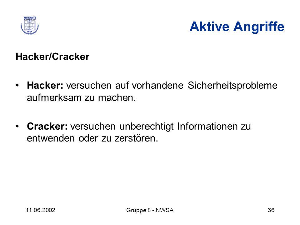 11.06.2002Gruppe 8 - NWSA36 Aktive Angriffe Hacker/Cracker Hacker: versuchen auf vorhandene Sicherheitsprobleme aufmerksam zu machen. Cracker: versuch