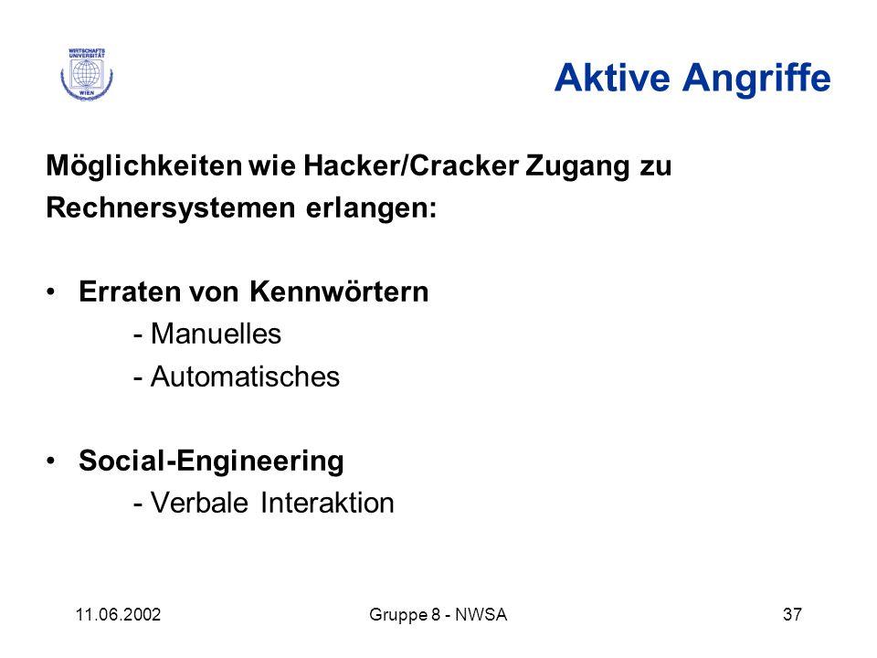 11.06.2002Gruppe 8 - NWSA37 Aktive Angriffe Möglichkeiten wie Hacker/Cracker Zugang zu Rechnersystemen erlangen: Erraten von Kennwörtern - Manuelles -