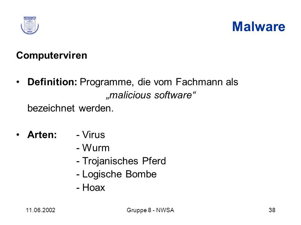 11.06.2002Gruppe 8 - NWSA38 Malware Computerviren Definition: Programme, die vom Fachmann als malicious software bezeichnet werden. Arten: - Virus - W