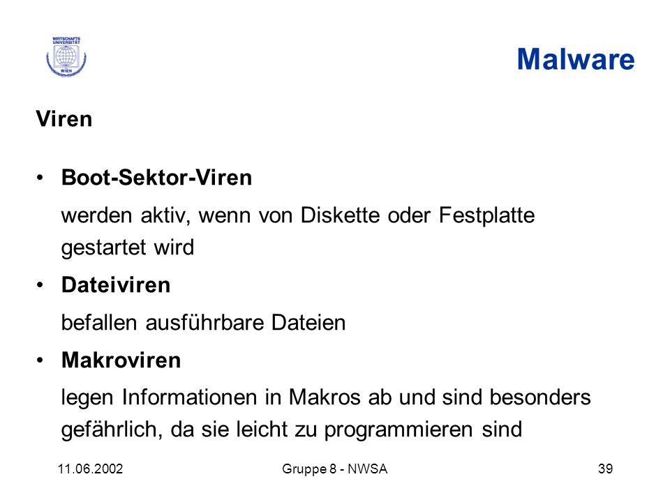 11.06.2002Gruppe 8 - NWSA39 Malware Viren Boot-Sektor-Viren werden aktiv, wenn von Diskette oder Festplatte gestartet wird Dateiviren befallen ausführ