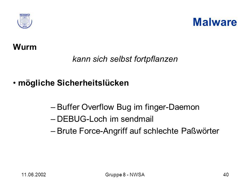 11.06.2002Gruppe 8 - NWSA40 Malware Wurm kann sich selbst fortpflanzen mögliche Sicherheitslücken –Buffer Overflow Bug im finger-Daemon –DEBUG-Loch im