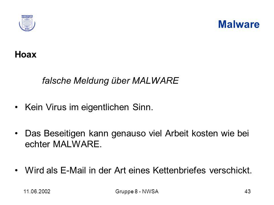 11.06.2002Gruppe 8 - NWSA43 Malware Hoax falsche Meldung über MALWARE Kein Virus im eigentlichen Sinn. Das Beseitigen kann genauso viel Arbeit kosten