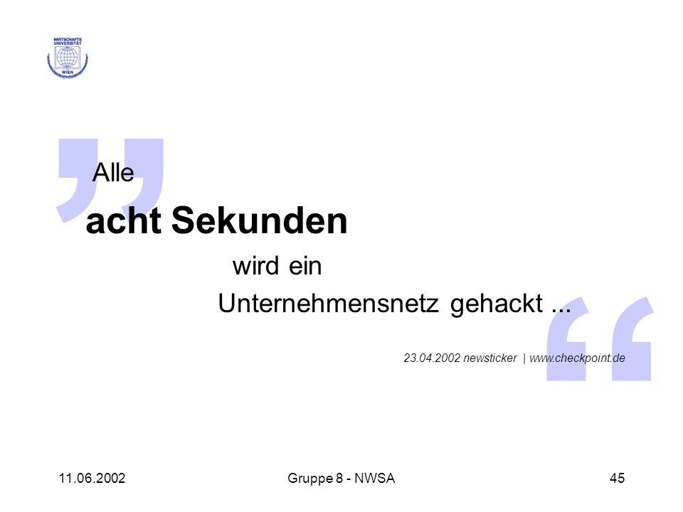 11.06.2002Gruppe 8 - NWSA45 Alle acht Sekunden wird ein Unternehmensnetz gehackt... 23.04.2002 newsticker | www.checkpoint.de