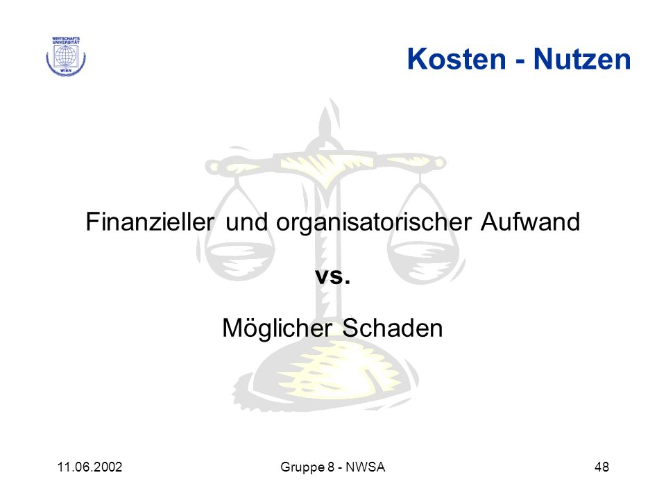 11.06.2002Gruppe 8 - NWSA48 Kosten - Nutzen Finanzieller und organisatorischer Aufwand vs. Möglicher Schaden