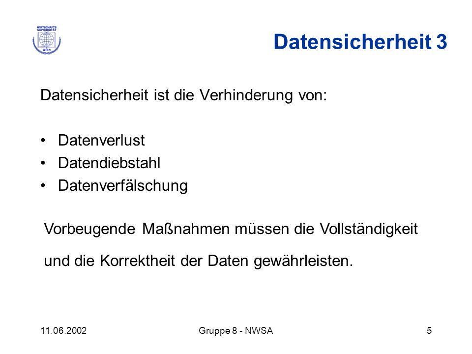 11.06.2002Gruppe 8 - NWSA5 Datensicherheit ist die Verhinderung von: Datenverlust Datendiebstahl Datenverfälschung Datensicherheit 3 Vorbeugende Maßna