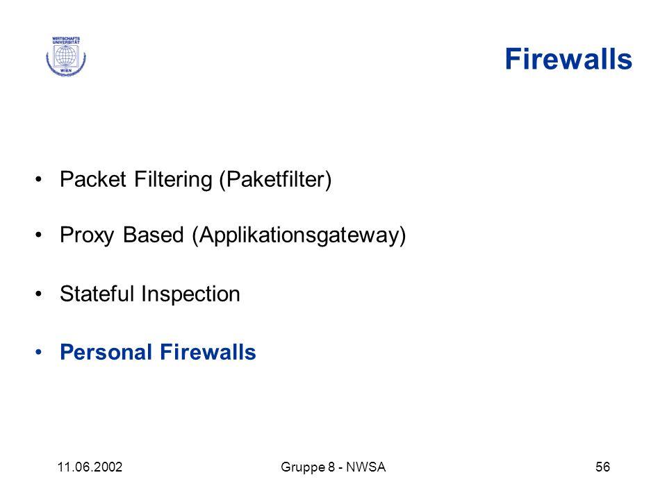 11.06.2002Gruppe 8 - NWSA56 Firewalls Packet Filtering (Paketfilter) Proxy Based (Applikationsgateway) Stateful Inspection Personal Firewalls