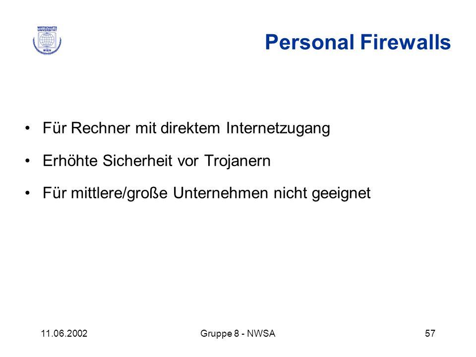 11.06.2002Gruppe 8 - NWSA57 Personal Firewalls Für Rechner mit direktem Internetzugang Erhöhte Sicherheit vor Trojanern Für mittlere/große Unternehmen