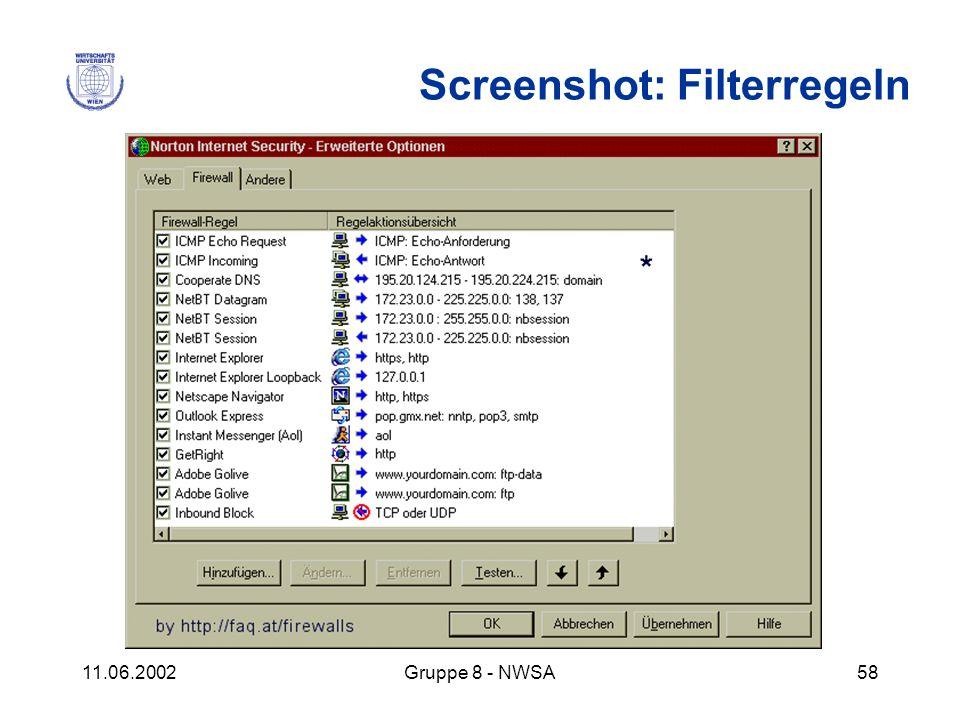 11.06.2002Gruppe 8 - NWSA58 Screenshot: Filterregeln